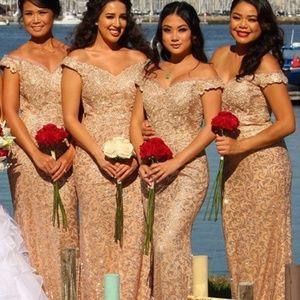 Rose Gold off shoulder mermaid gown